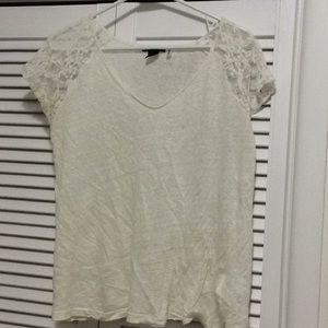 H&M Lace Sleeve Tee